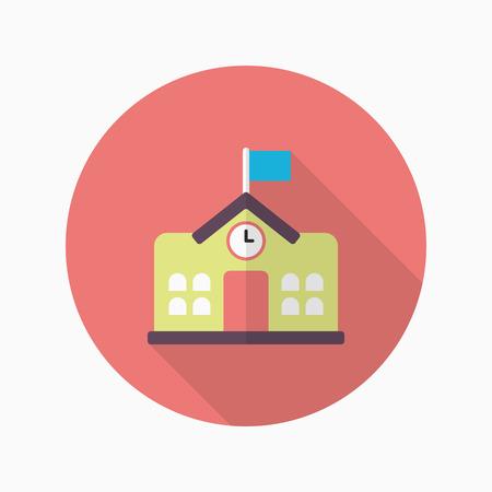 steeple: School icon , Vector flat long shadow design.In education concept.