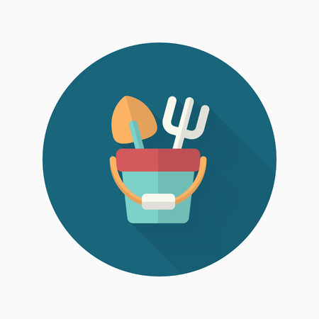 bucket and spade: Shovel and bucket toys  icon , Vector flat long shadow design. Childrens toys concept.
