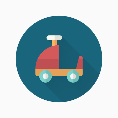 Toy car walker icon , Vector flat long shadow design. Childrens toys concept.