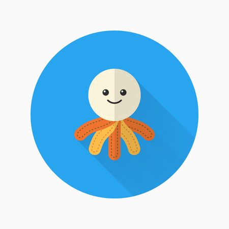 rag doll: Rag doll icon, Vector flat long shadow design. Childrens toys concept. Illustration