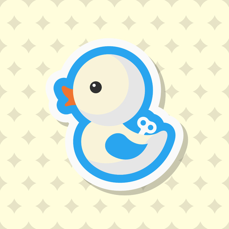 Duck toy icon , Vector flat long shadow design. Children's toys concept.