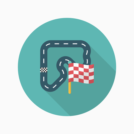 race start: Track  icon, Vector flat long shadow design. Racing concept. Illustration