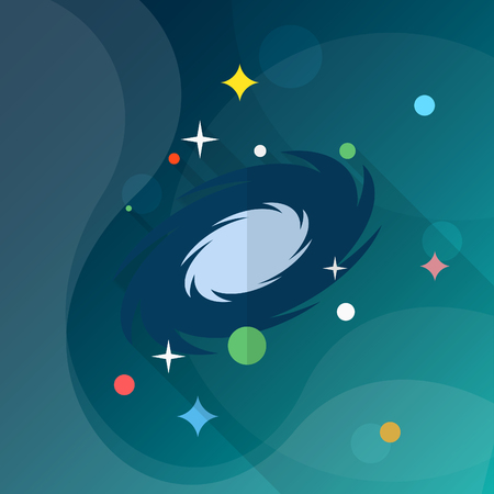 nebula: Nebula  flat  icon with long shadow, Illustration
