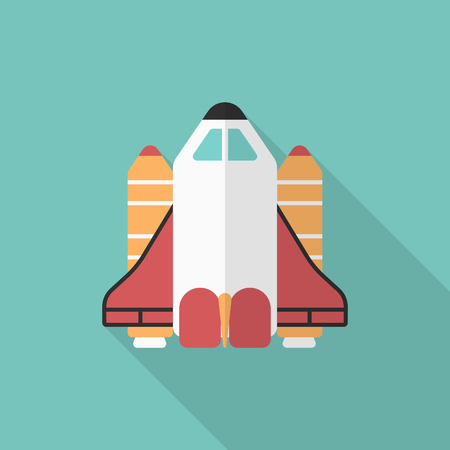 space shuttle: Space Shuttle flat  icon with long shadow