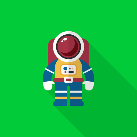 spaceflight: Astronaut flat  icon with long shadow,