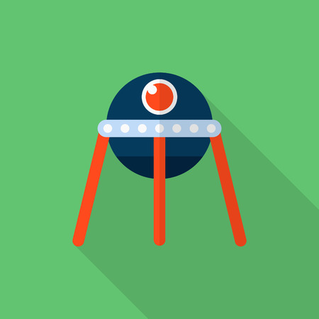 spacecraft: Spacecraft  flat  icon with long shadow, Illustration