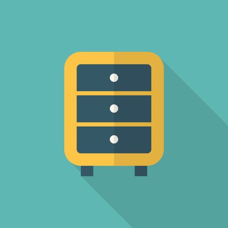 cabinets: Bedside cabinets icon , Vector flat long shadow design. Illustration