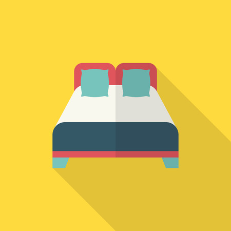 sleeper: Bed icon , Vector flat long shadow design.