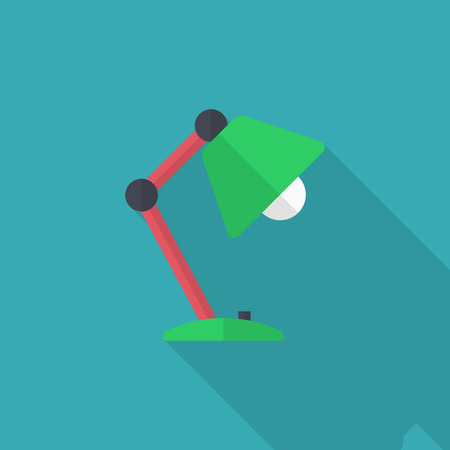 flexible business: Table lamp icon , Vector flat long shadow design.