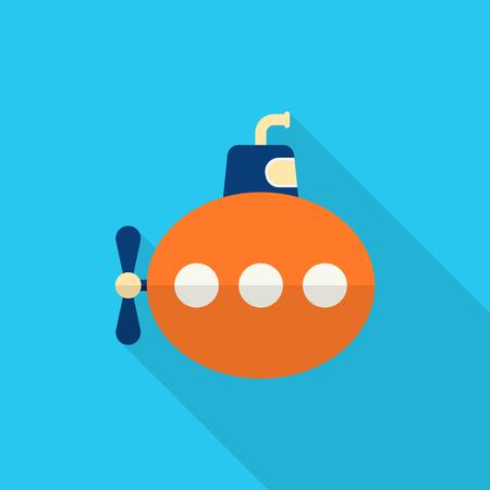 Submarine icon, Vector flat long shadow design. Transport concept.