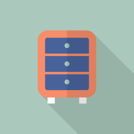 bedside: Bedside cabinets icon , Vector flat long shadow design. Illustration