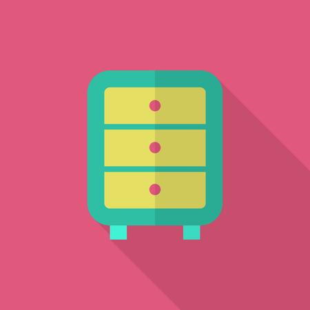 bedside: Bedside cabinets icon , Vector flat long shadow design. Illustration