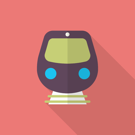 high speed rail: High speed train icon, Vector flat long shadow design. Transport concept.