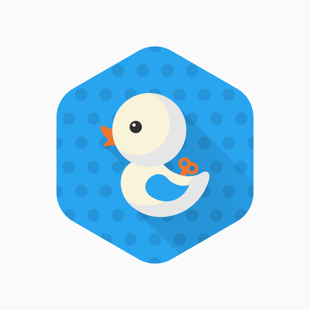 duck toy: Duck toy icon , Vector flat long shadow design. Childrens toys concept.