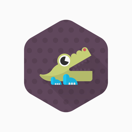 irate: Alligator toy icon , Vector flat long shadow design. Childrens toys concept.