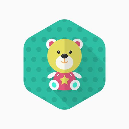 bear doll: Rag doll icon , Vector flat long shadow design. Childrens toys concept. Illustration