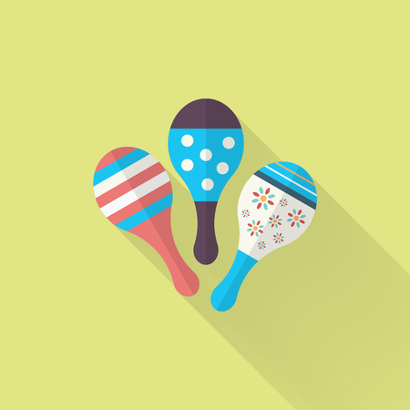 beanbag: Wooden rattle icon , Vector flat long shadow design. Childrens toys concept.