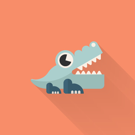 Alligator toy icon , Vector flat long shadow design. Children's toys concept.