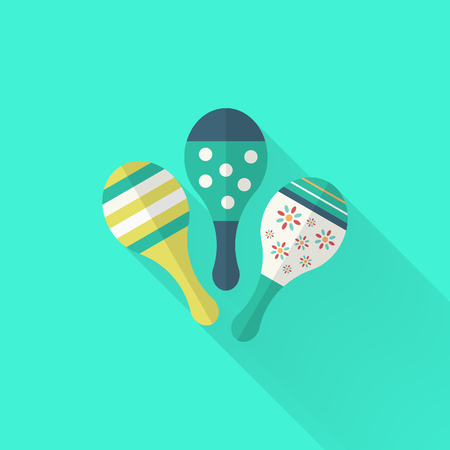 mexico beach: Wooden rattle icon , Vector flat long shadow design. Childrens toys concept.
