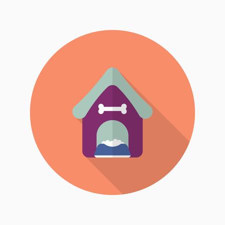 doggies: Dog house icon , Vector flat long shadow design.