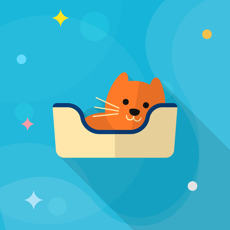 sleeping pad: Cat bed icon , Vector flat long shadow design.