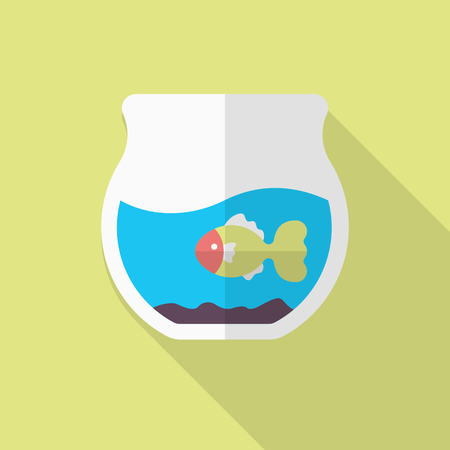 ichthyology: Fishbowl icon , Vector flat long shadow design. Illustration