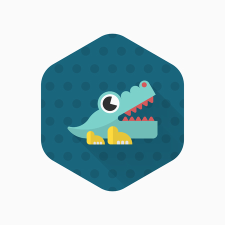wrath: Alligator toy icon , Vector flat long shadow design. Childrens toys concept.