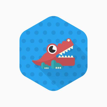icono del juguete del cocodrilo, vector plana diseño de la sombra larga. juguetes concepto de los niños.