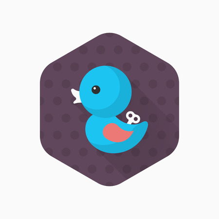 squeak: Duck toy icon , Vector flat long shadow design. Childrens toys concept.