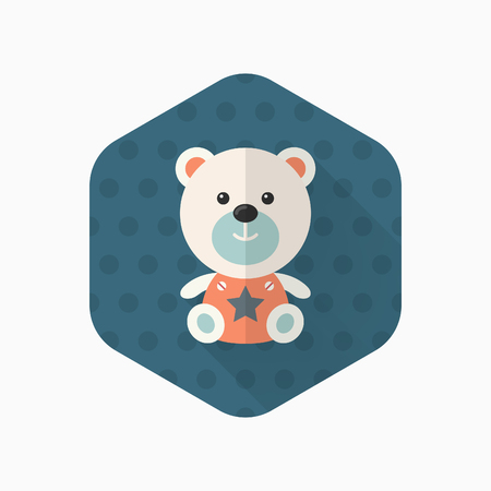 cuddle: Rag doll icon , Vector flat long shadow design. Childrens toys concept. Illustration