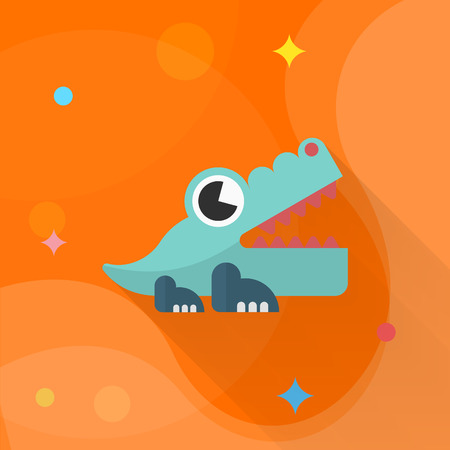 caiman: Alligator toy icon , Vector flat long shadow design. Childrens toys concept.