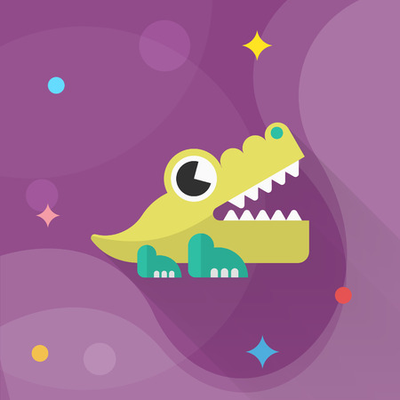 alligator: Alligator toy icon , Vector flat long shadow design. Childrens toys concept.