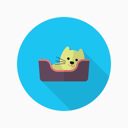 comforter: Cat bed icon , Vector flat long shadow design.