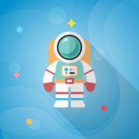 Astronaut flat  icon with long shadow. Illustration