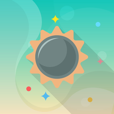 Sun flat  icon with long shadow. Illustration