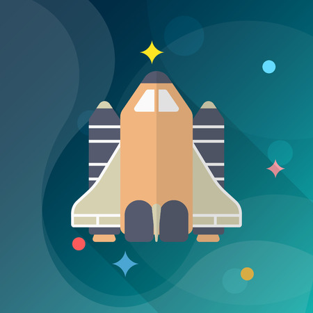 shuttle: Space Shuttle flat  icon with long shadow.