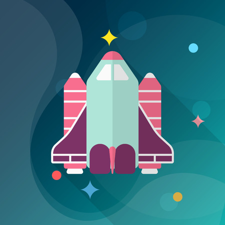 space shuttle: Space Shuttle flat  icon with long shadow.