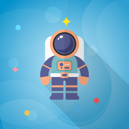 spaceflight: Astronaut flat  icon with long shadow. Illustration