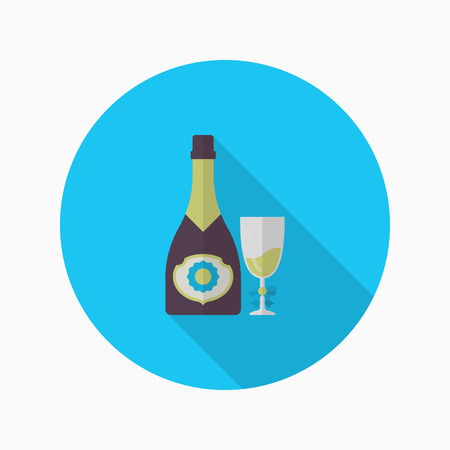 Champagne icon, Vector flat long shadow design. Racing concept. Illustration