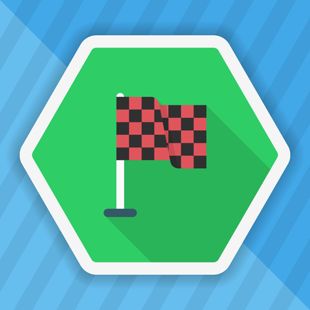 crossed checkered flags: Checkered flag icon, Vector flat long shadow design. Racing concept.