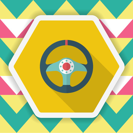 ring road: Racing Steering wheel helmets icon, Vector flat long shadow design. Racing concept.
