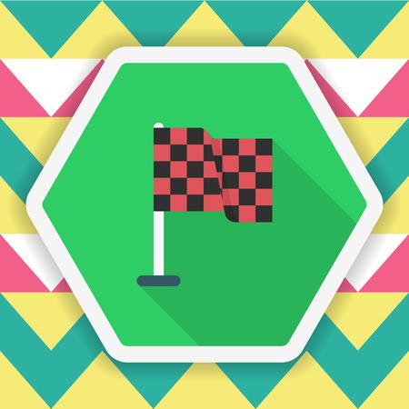 sports symbols metaphors: Checkered flag icon, Vector flat long shadow design. Racing concept.