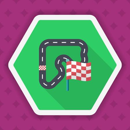 racecar: Track  icon, Vector flat long shadow design. Racing concept. Illustration