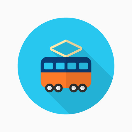 Tram icon , Vector flat long shadow design. Transport concept.