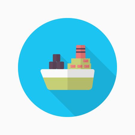 Cargo ships icon, Vector flat long shadow design. Transport concept.