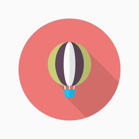 Hot air balloon icon, Vector flat long shadow design. Transport concept. Illustration