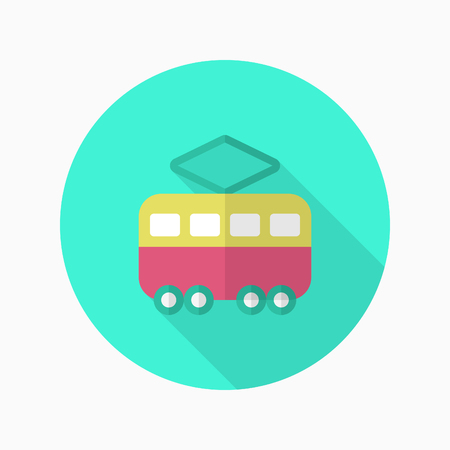 Tram icon , Vector flat long shadow design. Transport concept.