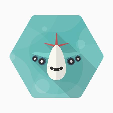 Aircraft icon, Vector flat long shadow design. Transport concept.