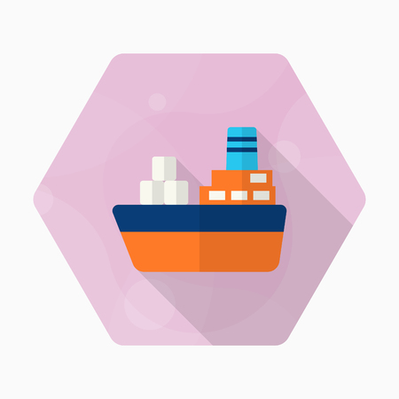shipbuilder: Cargo ships icon, Vector flat long shadow design. Transport concept.