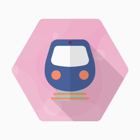 High speed train icon, Vector flat long shadow design. Transport concept.